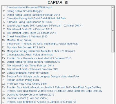 membuat daftar isi dan halaman 2013 belajar internet artikel copas dari berbagai sumber