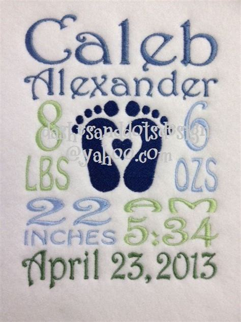embroidery design birth announcement baby block custom birth information machine by