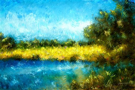 canola fields impressionist landscape painting painting by