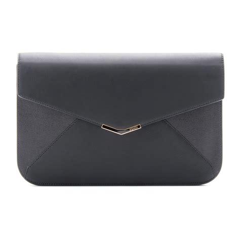 Fendi Clutch Black fendi leather envelope clutch in black black soft gold lyst