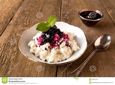 cottage cheese with jam stock photo image 58390756