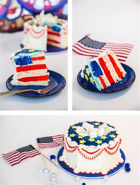 4th of july diy red white and blue cake