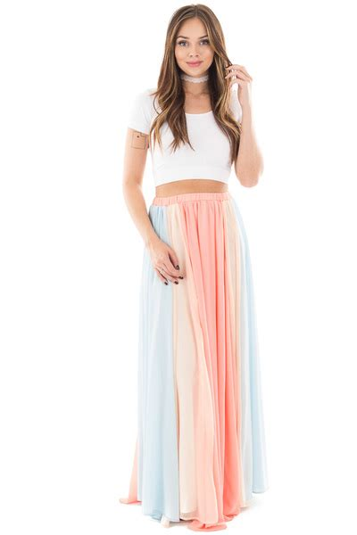 coral chiffon maxi skirt with baby blue and blush contrast