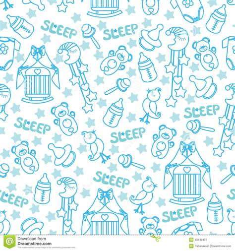 wallpaper cartoon baby boy baby boyl cute seamless pattern sleep newborn ite stock