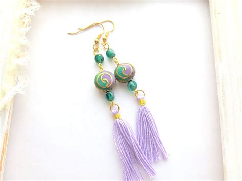 beaded fringe earrings shoulder duster earring beaded fringe earrings bohemian