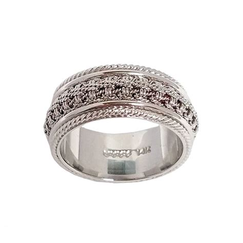 s white gold ornate chain and milgrain wedding band