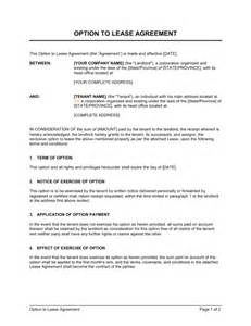 Lease Agreement With Option To Buy Template option to lease agreement template amp sample form