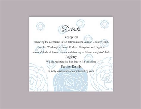 reception detail card free template diy wedding details card template editable word file