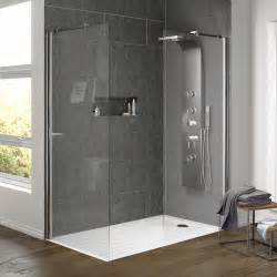 walk in shower enclosure with side panel tray