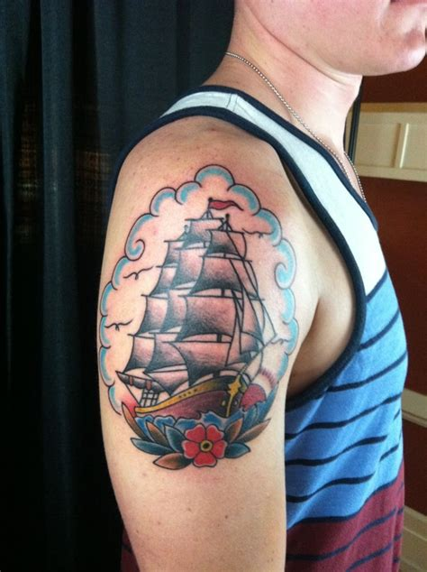 iron lotus tattoo traditional clipper ship by lucky yelp