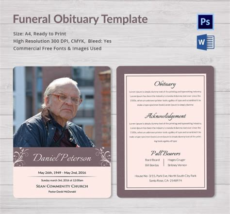 Funeral Obituary Template 22 Free Word Excel Pdf Psd Format Download Free Premium Obituary Template Funeral Program