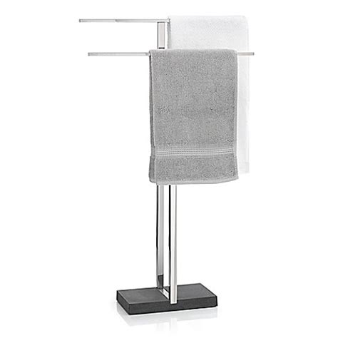 bed bath and beyond towel rack menoto freestanding towel rack in polished stainless steel bed bath beyond