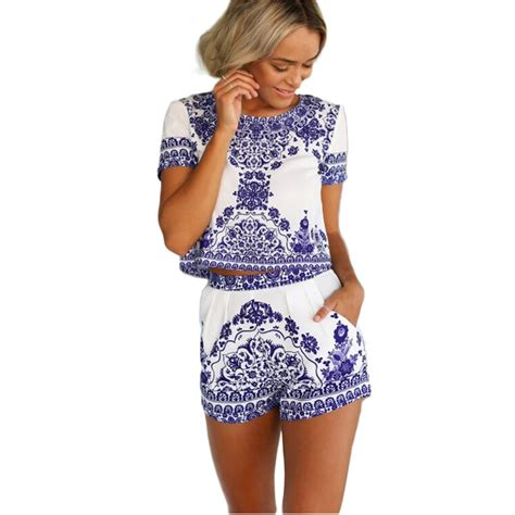 44880 White Retro S M L Casual Top Le07117 Import summer style new fashion retro china blue white porcelain