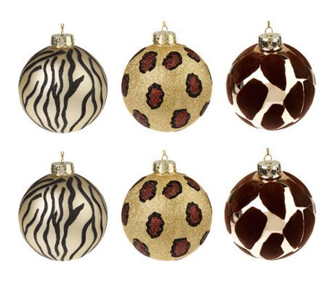 animal print ornaments set of 6 embellished animal print glass ornaments page 1