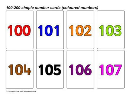 printable number cards to 1000 simple 100 200 number cards coloured numbers sb10395