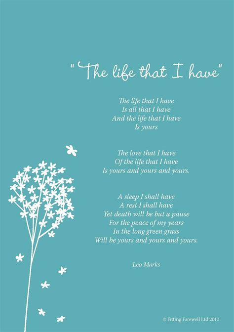 poem for funeral poem the that i by leo marks poetry