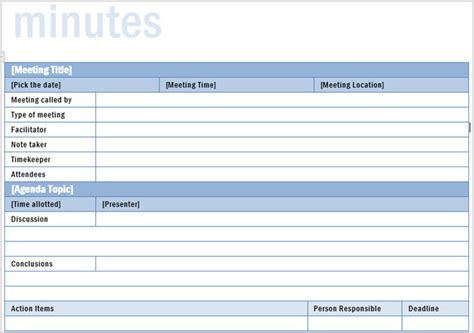 template for meeting notes with action items