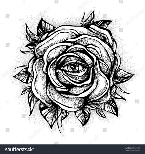 new school tattoo vector black tattoo rose flower eye on stock vector 602367500