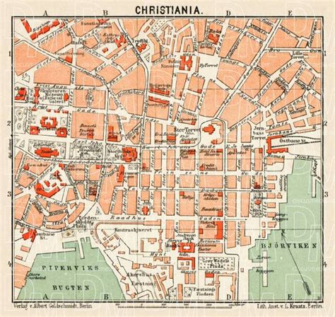 Buy Home Plans by Old Map Of Christiania Oslo Center In 1911 Buy Vintage