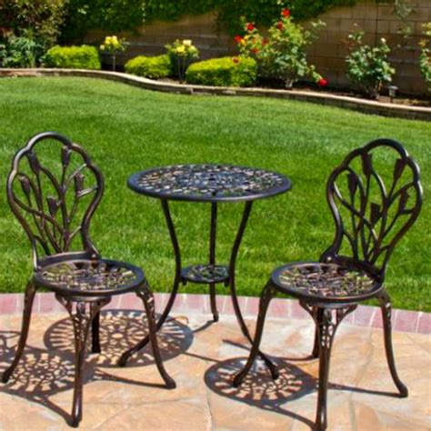 Patio Set Bistro Outdoor Furniture Table 3 Piece Chairs Patio Furniture Bistro