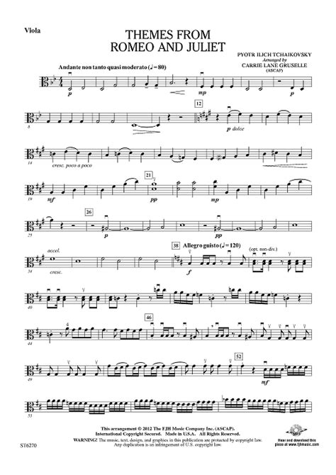 themes from romeo and juliet tchaikovsky themes from romeo and juliet viola sheet music for