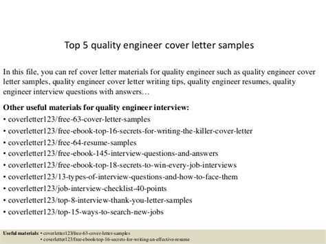 Senior Quality Engineer Cover Letter by Top 5 Quality Engineer Cover Letter Sles