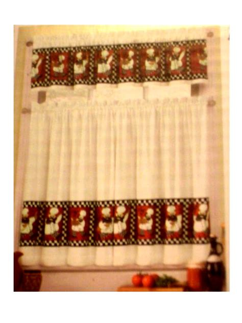 chefs kitchen curtains tiers valance set