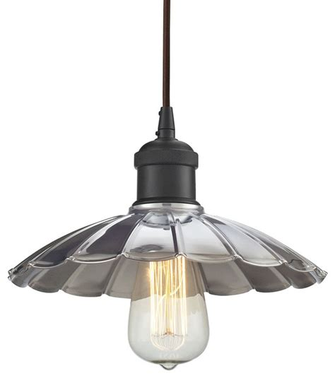 Houzz Pendant Lights Corrine 1 Light Pendant Rubbed Bronze Chrome Farmhouse Pendant Lighting By Elk