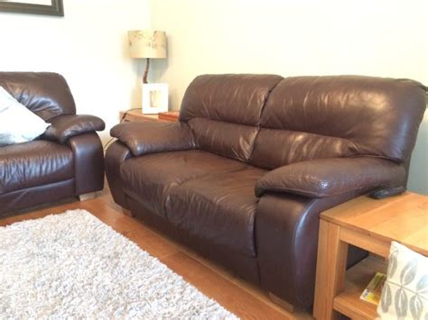 Leather Sofa Couch Brown Italian For Sale In Templeogue Italian Leather Sofas For Sale