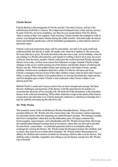 charlie and teh chocolate factory summary worksheet - Free