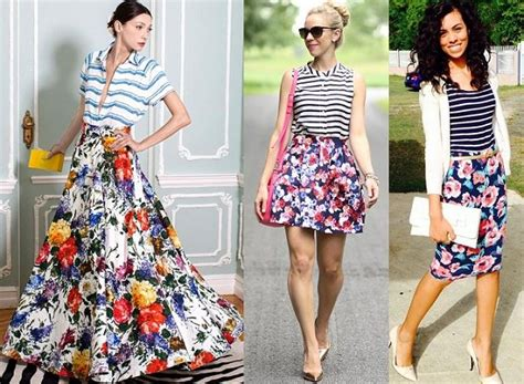 Striped And Floral Skirt stylish and fabulous ideas to wear skirts in style