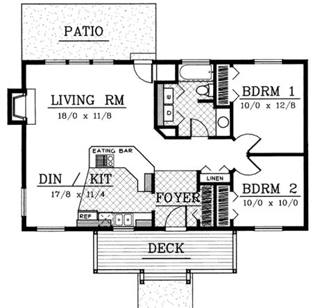 cabin style house plan 2 beds 1 baths 480 sq ft plan 23 cottage style house plan 2 beds 1 baths 960 sq ft plan