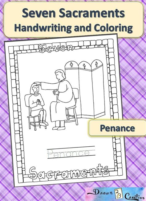 seven sacraments handwriting and coloring penance