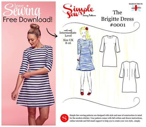 sewing pattern on line 187 free the simple sew brigitte dress pattern
