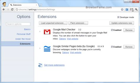 Chrome Extension Settings | how to remove toolbars