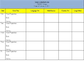 lesson plan schedule template weekly lesson plans in math for kindergarten new