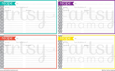 Free Template For 3x5 Recipe Cards by Free Printable Recipe Cards Artsy Fartsy