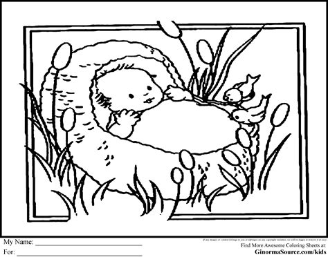 coloring page of baby moses moses in the bulrushes coloring page google search pre