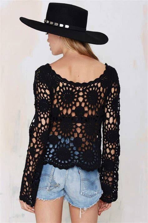 black pattern blouse crochet tops for women free crochet patterns