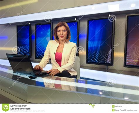 Reporter Tv by Tv Reporter At The News Desk Stock Photo Image 48716254