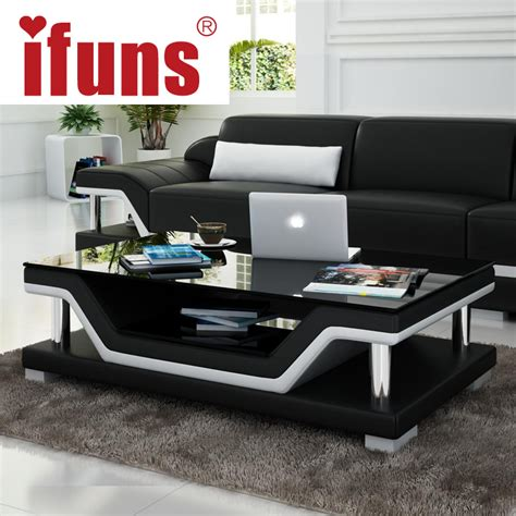 Living Room Furniture Coffee Tables Ifuns Simple Modern Fashion Glass Coffee Table Leather Cover Tea Table For Living Room Furniture