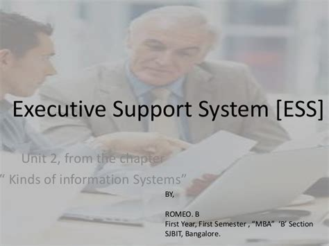 Itm Executive Mba by Executive Support System Ess Itm Project By Romeo Mba