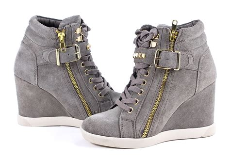 steve madden taupe suede leather obsess wedge sneakers
