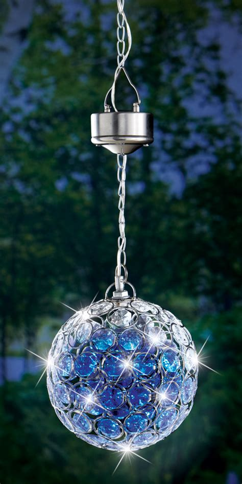 Solar Powered Crystalline Hanging Pendant Garden Gazing Solar Powered Hanging Lights