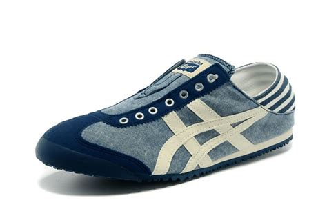 blue beige onitsuka tiger mexico 66 slip on shoes