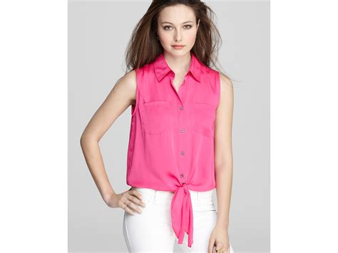 Tie Waist Blouse 8280 lyst vince camuto satin tie waist blouse in pink