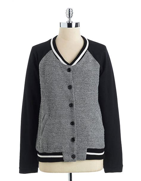 Sweater Baseball kut from the kloth baseball sweater jacket in gray black grey lyst