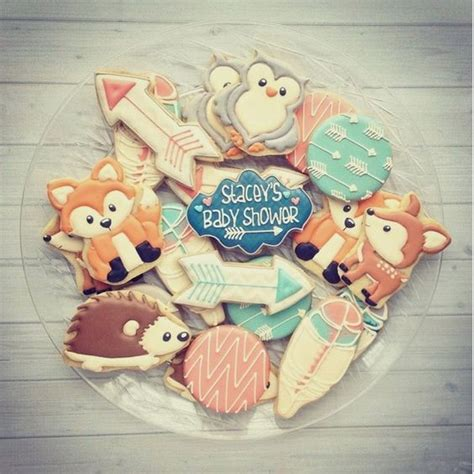 themes girl x2 woodland critter cookies baby shower pinterest