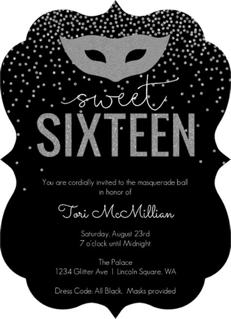 black and white 16th birthday invitations silver faux glitter masquerade sweet sixteen birthday invitation pinteres