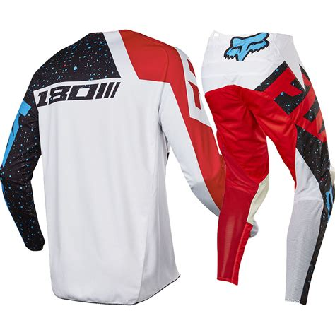 red white and blue motocross gear fox racing 2017 mx new 180 nirv red white blue jersey